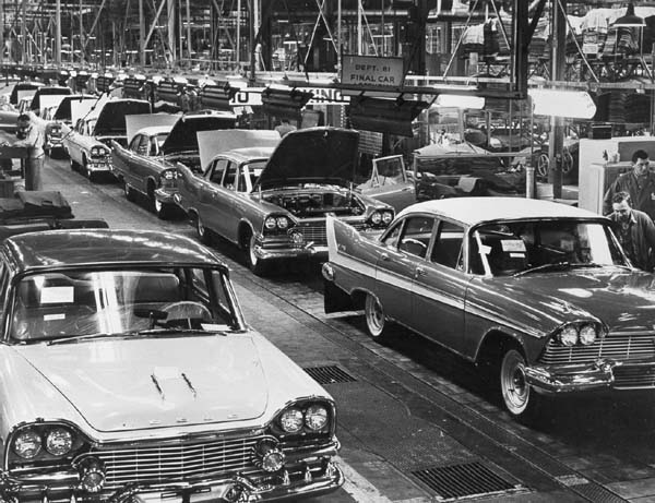 Car Dealerships Lansing Mi >> Chrysler assembly line 1950s | all kinds of cars | Pinterest | Mopar, Cars and Plymouth